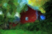 Turn Of The Century Digital Art - Old Red Barn Abstract Watercolor by Terri Gostola