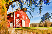 Grassy Field Posters - Old Red Barn Poster by Bonnie Bruno