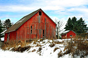 Snow Scenes Digital Art Prints - Old Red Barn Print by Christina Rollo