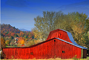 Tennessee Barn Digital Art Posters - Old Red Barn Poster by Dianna Hauf