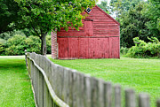 Painted Wood Digital Art Prints - Old Red Barn Il Print by Laura  Fasulo