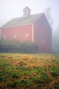 Traditional Doors Prints - Old Red Barn in Fog Print by Edward Fielding