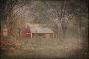 Shed Digital Art Metal Prints - Old Red Barn Metal Print by Terry Fleckney