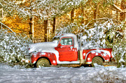 Snow Scene Art - Old Red by Benanne Stiens
