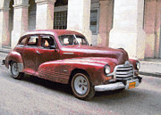 Street Rod Paintings - Old red car in Cuba by Odon Czintos