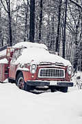 Edward Fielding - Old Red Fire Truck covered with snow