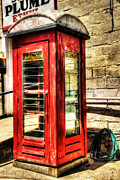 Retro Phone Photos - Old Red Phone Booth by Kaye Menner