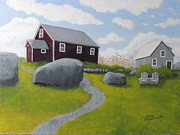 Red School House Paintings - Old Red Schoolhouse by Lisa MacDonald