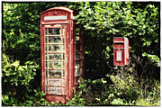 Snug Digital Art Prints - Old Red Telephone Box Old Red Letter Box Print by Natalie Kinnear