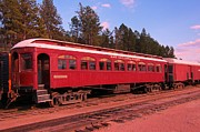 Western Art Collector Prints - Old Red Train Car Print by John Malone