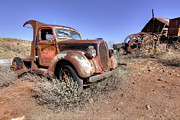 Farm Wagon Prints - Old Red Truck in Jerome AZ Print by James Steele