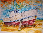 Trawler Drawings Metal Prints - Old Reds Last Stand Metal Print by Paul Morgan