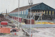 Old West Pastels Prints - Old Resting Train and Schnitzer Steel Building Print by Asha Carolyn Young