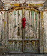 Santa Fe Photos - Old Ristra Door by Kurt Van Wagner