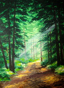 Serenity  Oregon Paintings - Old  Road  by Shasta Eone