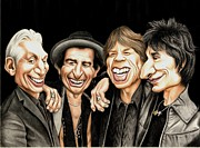 Mick Jagger Drawings - Old Rockers Gimme Shelter by Margaret Sanderson