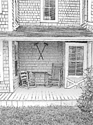 Rocking Chairs Drawings Prints - Old Rocking Chairs Print by Greg Lindberg