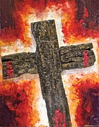 Van Dyke Brown Mixed Media Prints - Old Rugged Cross Print by Jim Ellis