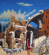 Old Ruins Flower Girl And Sheep Print by William Cain