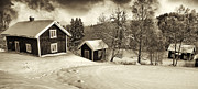 Snow Scape Posters - Old Rural Nature And Winter Landscape Poster by Christian Lagereek
