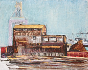 Industrial Art Drawings Prints - Old Rustic Schnitzer Steel Building with Crane and Ship Print by Asha Carolyn Young