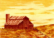 Barn Drawing Prints - Old Rusty Barn Print by Michael Vigliotti