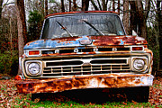 Rusted Cars Framed Prints - Old Rusty Blue by Diana Sainz Framed Print by Diana Sainz
