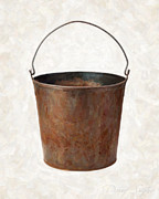 Studio Shot Paintings - Old Rusty Bucket by Danny Smythe