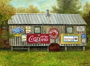 Coca-cola Sign Paintings - Old Rusty Signs by Vicky Watkins