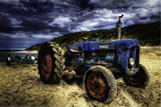Rural Landscape Framed Prints - Old Rusty Tractor Framed Print by Erik Brede