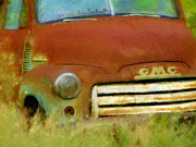 Vintage Pickups Prints - Old Rusty Truck impressionistic Print by Ann Powell