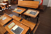 Desks Prints - Old Sacramento California Schoolhouse Classroom 5D25778 Print by Wingsdomain Art and Photography