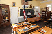 Old Schoolhouses Framed Prints - Old Sacramento California Schoolhouse Classroom 5D25780 Framed Print by Wingsdomain Art and Photography