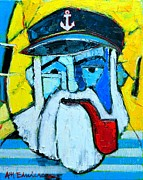 The Blue Face Paintings - Old Sailor With Pipe Expressionist Portrait by Ana Maria Edulescu