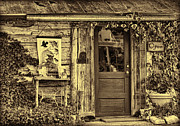 Cabin Window Framed Prints - Old Salado Log Cabin Shop Sepia Framed Print by Linda Phelps