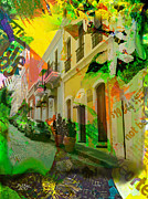 P.r. Paintings - Old San Juan Puerto Rico Street by Joseph Diaz
