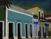 Old San Juan Painting Metal Prints - Old San Juan Streescape Metal Print by Karen Ayala