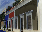 Old San Juan Painting Metal Prints - Old San Juan Streetscape Metal Print by Karen Ayala