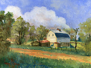 White Barn Prints - Old Saunders Barn Print by Jeff Brimley