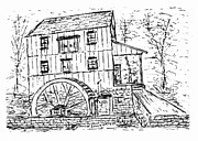 Saw Drawings Prints - Old Saw Mill Print by William Lowenkamp