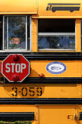 Stop Sign Framed Prints - Old School Bus 1 Framed Print by James Brunker