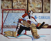 Hockey Mixed Media Metal Prints - Old School Goalie Metal Print by Alan Salvaggio