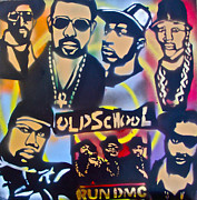 First Amendment Painting Framed Prints - Old School Hip Hop 3 Framed Print by Tony B Conscious