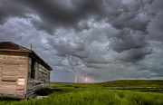 Prairie Digital Art Posters - Old School House and Lightning Poster by Mark Duffy