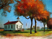 Red School House Digital Art Prints - Old Schoolhouse Print by Bob Galka