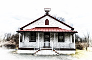 Old School House Digital Art Posters - Old Schoolhouse Chester Springs Poster by Bill Cannon