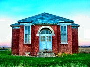 Indiana Scenes Prints - Old Schoolhouse Print by Julie Dant