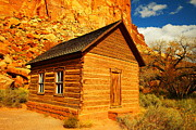Log Houses Posters - Old Schoolhouse Near Capital Reef Utah Poster by Jeff  Swan