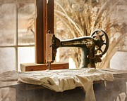 Treadle Prints - Old Sewing Machine Print by Terry Fleckney