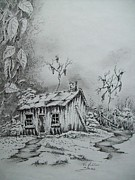 Old Houses Drawings Acrylic Prints - Old Shed #2 Acrylic Print by Tom Rechsteiner